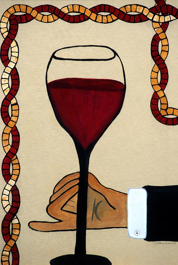 Red Wine Painting - Red Wine Glass by Cynthia Amaral