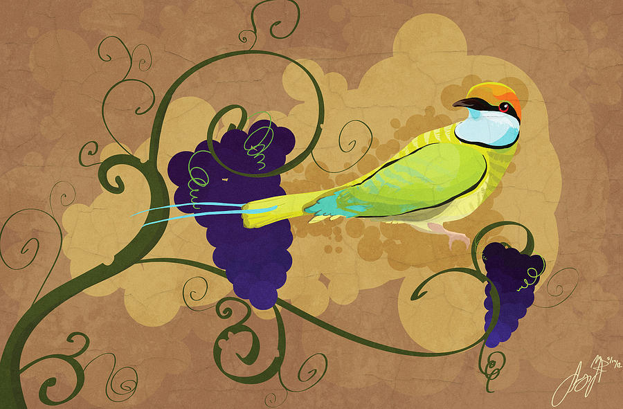 Carmine Bee Eater Bird Birds Avian Avians Grape Grapes Vine Vines Leave Leaves Leaf Digital Painting Illustration Birdie African Culture Heritage French Style Stylized Unique Painted Feather Feathers Wood Wooden Wildlife Nature Traditional Savannah Natural Cool Amazing Colorful  Digital Art - Red Wine by Sydney Gregory