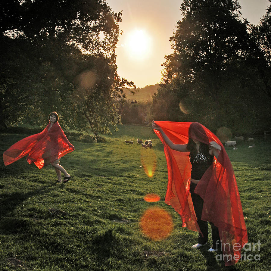 Girls Photograph - Red Witches Dance by Angel  Tarantella