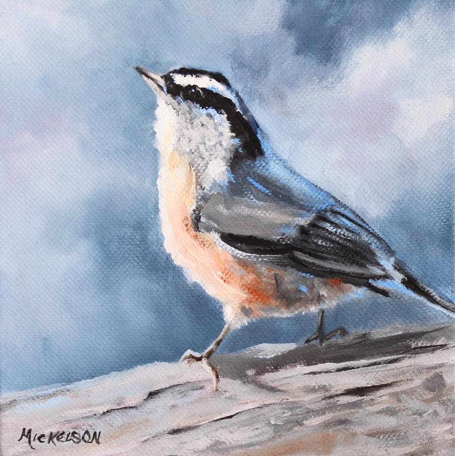Nuthatch Painting - Redbreasted Nuthatch by Debra Mickelson