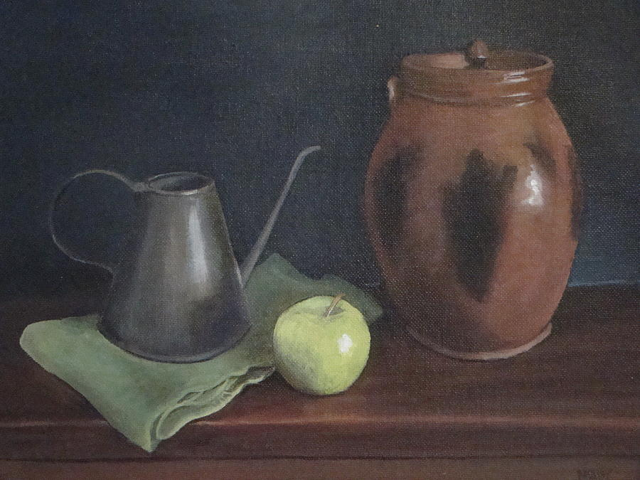 Redware Painting - Redware Jar With Shaker Lamp Filler by Mark Haley