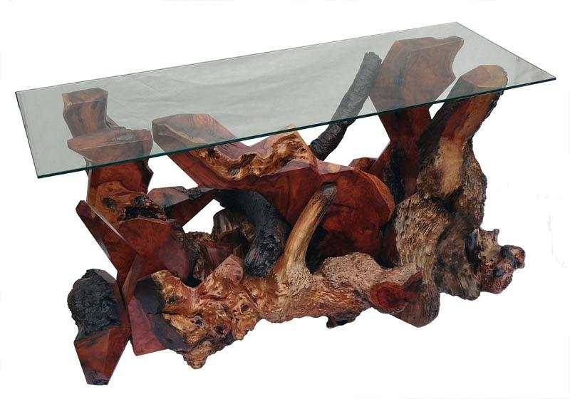 Console Tables Sculpture - Redwood Burl Modern Console Table Ds-19911 by Daryl Stokes