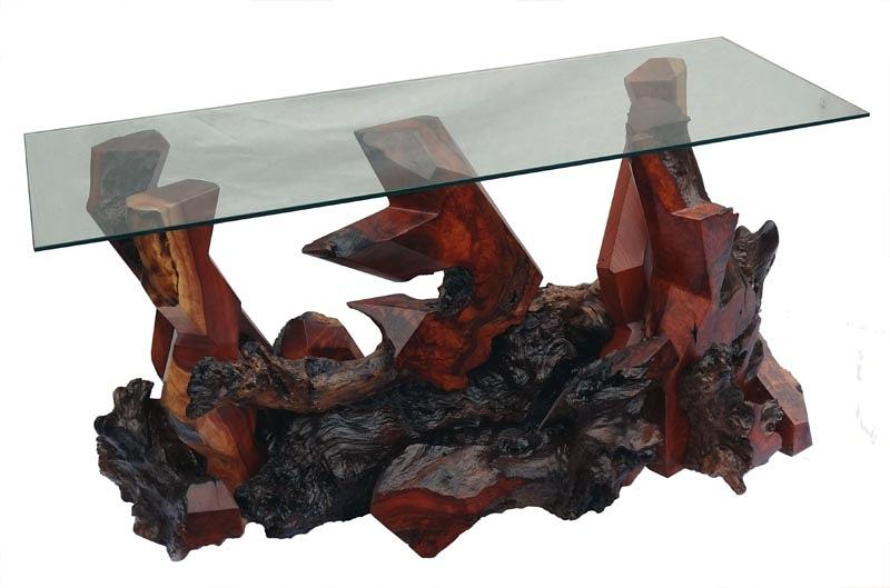Console Tables Sculpture - Redwood Console Table Ds-19711 by Daryl Stokes