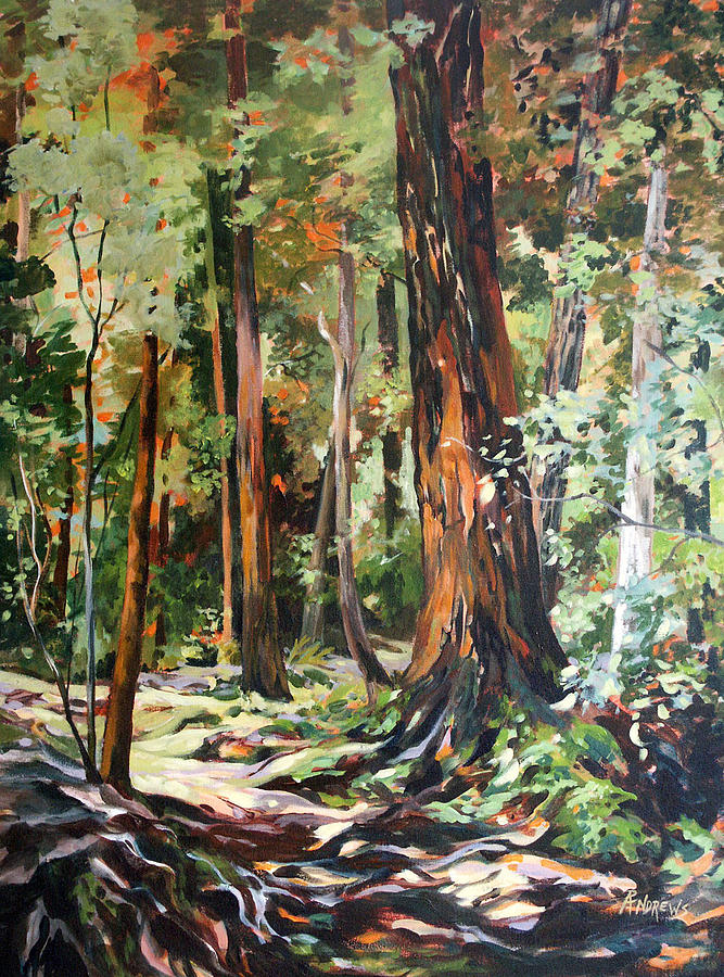 Redwoods Maui Painting by Rae Andrews Redwood Tree Painting