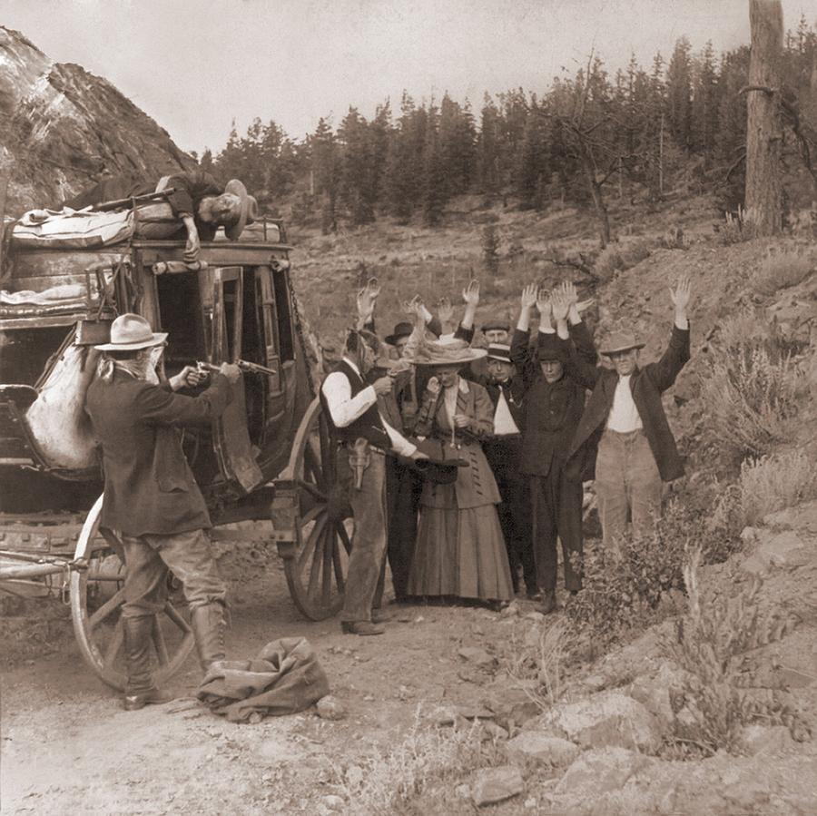 History Photograph - Reenactment Of A Stage Coach Robbery by Everett