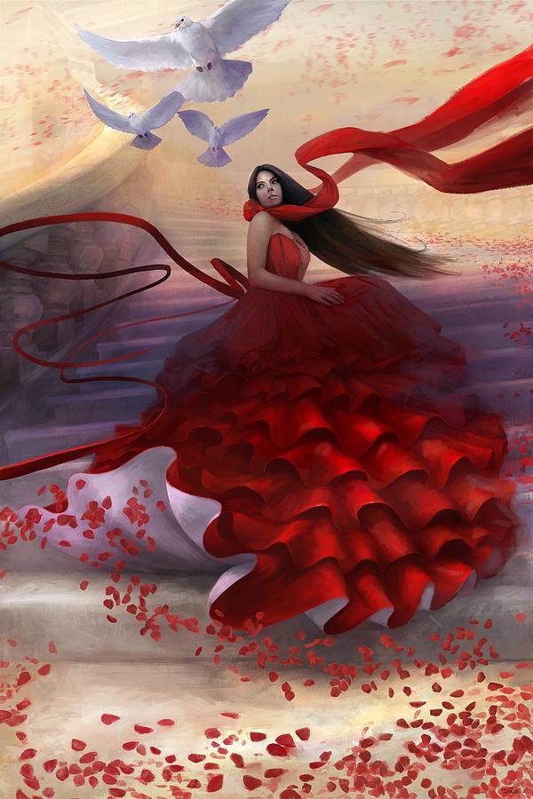 Red Dress Digital Art - Reflecting Back by Steve Goad