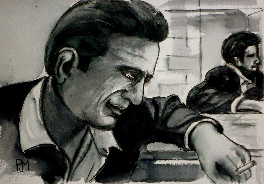 Johnny Cash Painting - Reflecting by Pete Maier