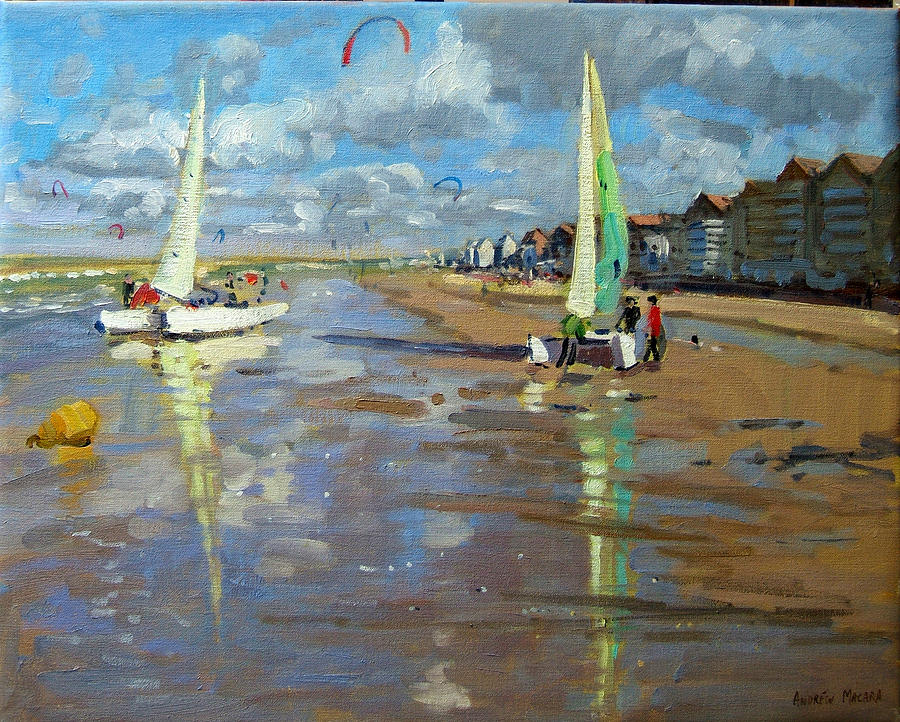 Seaside Painting - Reflection by Andrew Macara