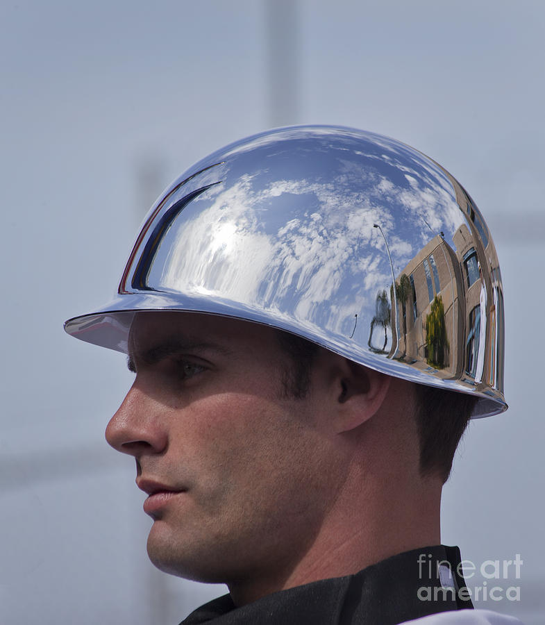 Military Photograph - Reflection In A Color Guardsmans by Michael Wood