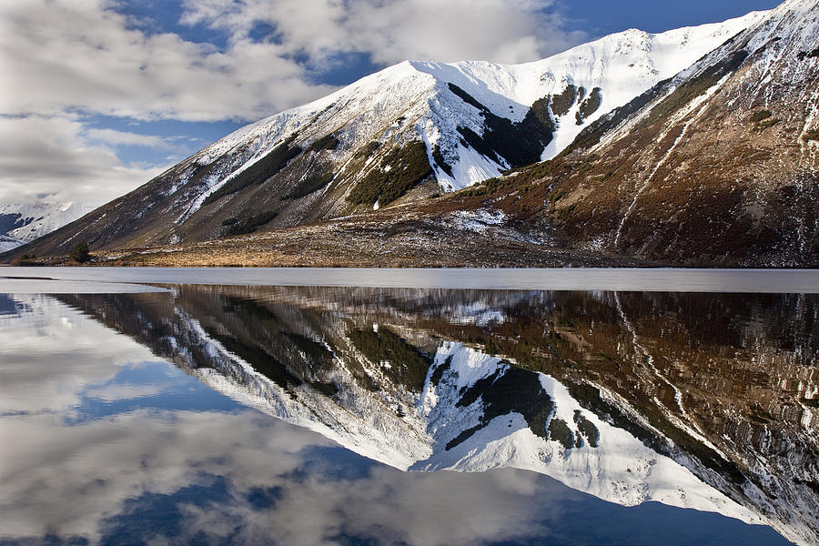 Hhh Photograph - Reflection In Lake Pearson, Castle Hill by Colin Monteath
