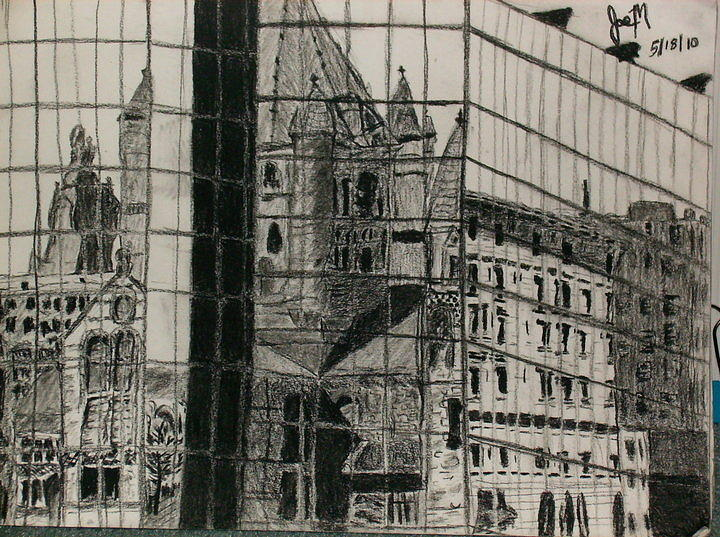Reflection Of A Church Drawing by Jamie Mah