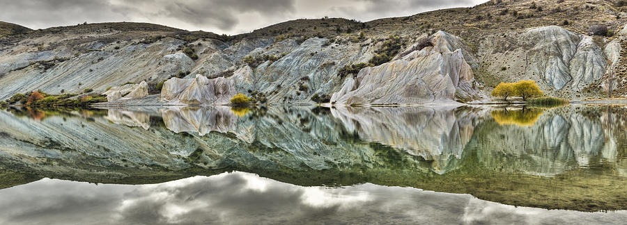 Reflection On Blue Lake, St Bathans Photograph by Colin Monteath