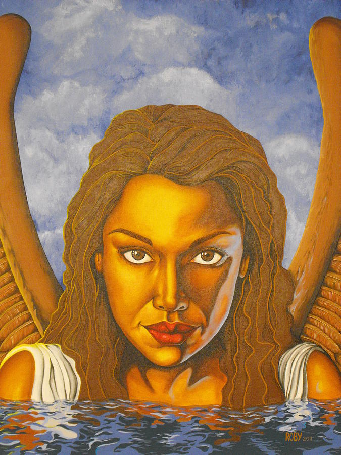 African American Angel Immersed In Water Painting - Reflection by William Roby