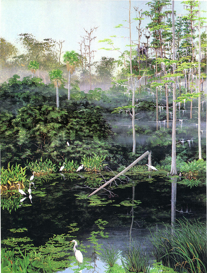Egrets Painting - Reflections 1 by Kevin Brant