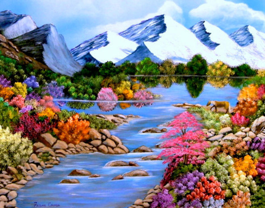 Reflections Painting by Fram Cama