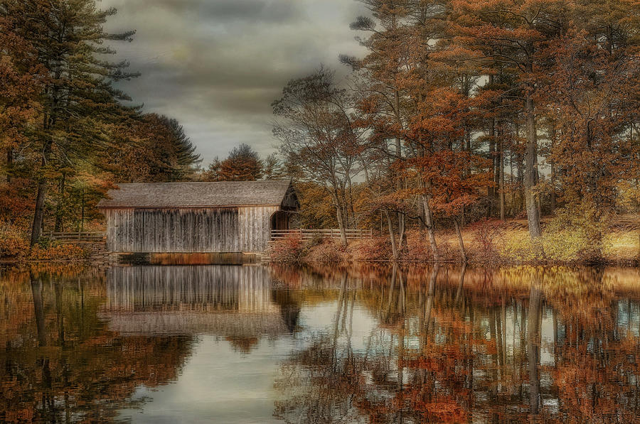Covered Bridge Photograph - Reflections Of Autumn by Robin-Lee Vieira