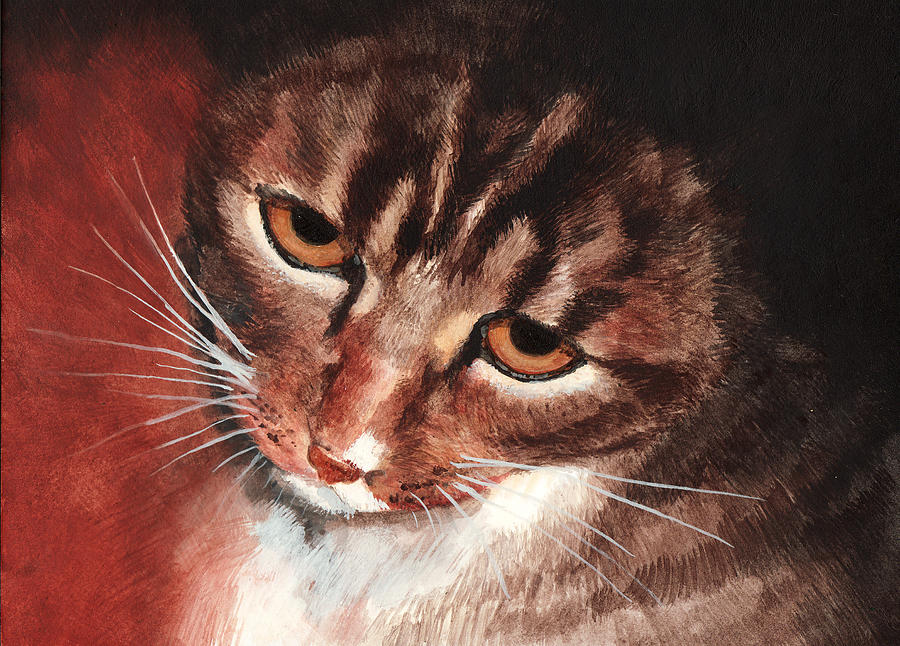 Feline Painting - Reflective Kitty by Tricia Griffith