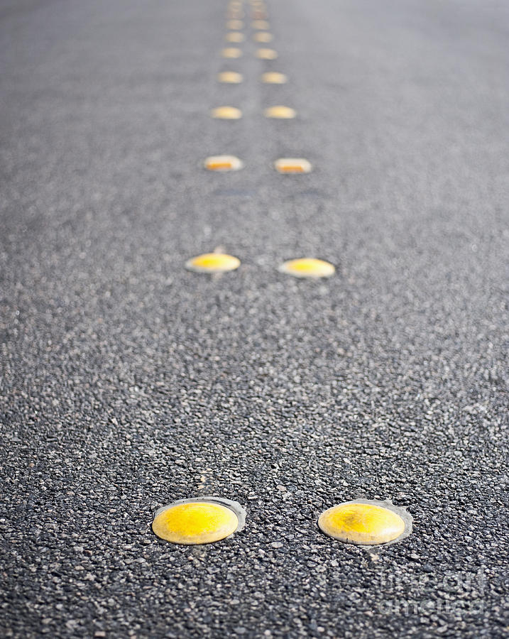 Asphalt Photograph - Reflective Roadway Divider Bumps by Thom Gourley/Flatbread Images, LLC