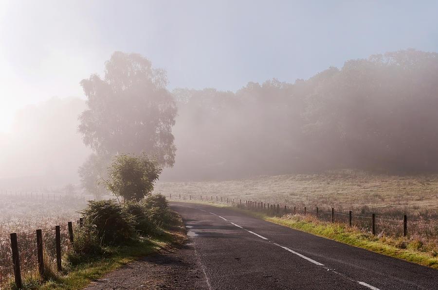 Scotland Photograph - Refreshing Morning Fog In Trossachs. Scotland by Jenny Rainbow