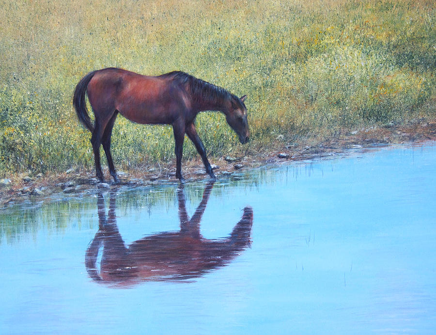 Horse Painting - Refreshment by Janet Landrum