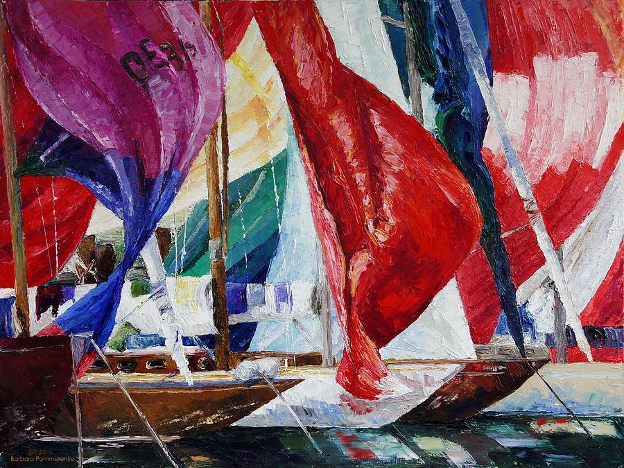 Sailing Painting - Regatta Break by Barbara Pommerenke