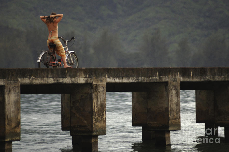 Bicycle Photograph - Relaxed Ride Hanalei Bay by Bob Christopher