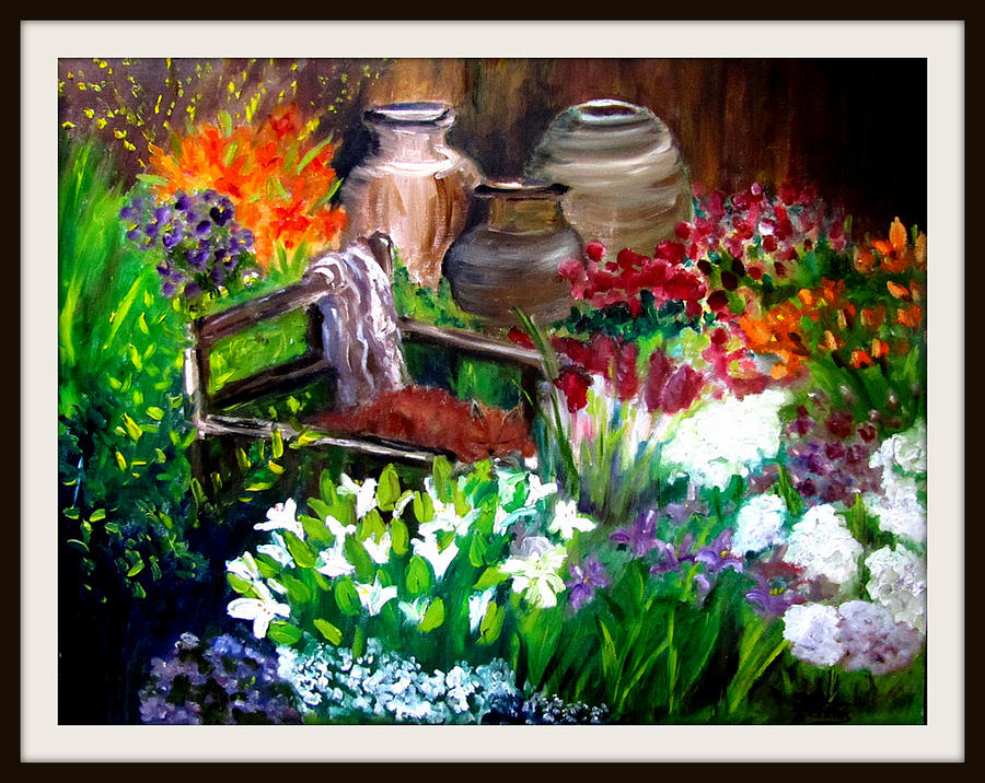 Flowers Painting - Relaxing in the Garden by Jenell Richards