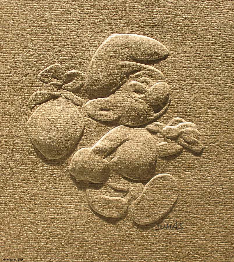 Disney Characters Relief - Relief Smurf On Paper  by Suhas Tavkar