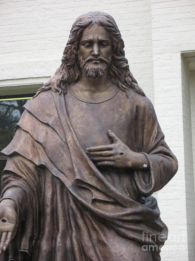 Jesus With Nails In Hands Photograph - Religious Jesus Statue - Christian Art by Kathy Fornal
