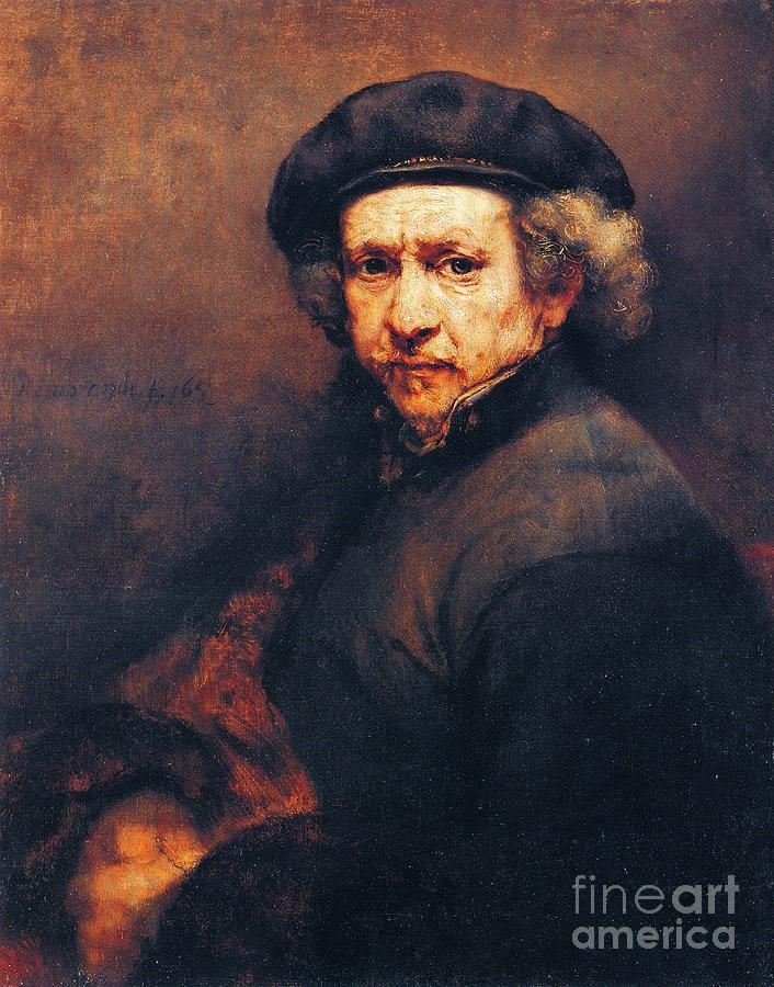 Pd Painting - Rembrandt Self Portrait by Pg Reproductions
