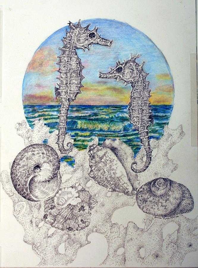 Seahorses Drawing - Rendesvous At Sunrise by Jennifer Kirton