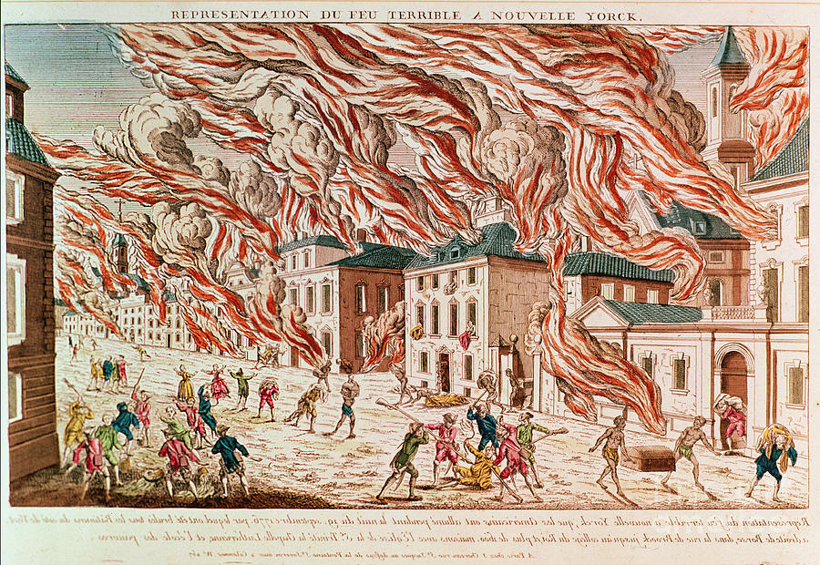 Flame Painting - Representation Of The Terrible Fire Of New York by French School