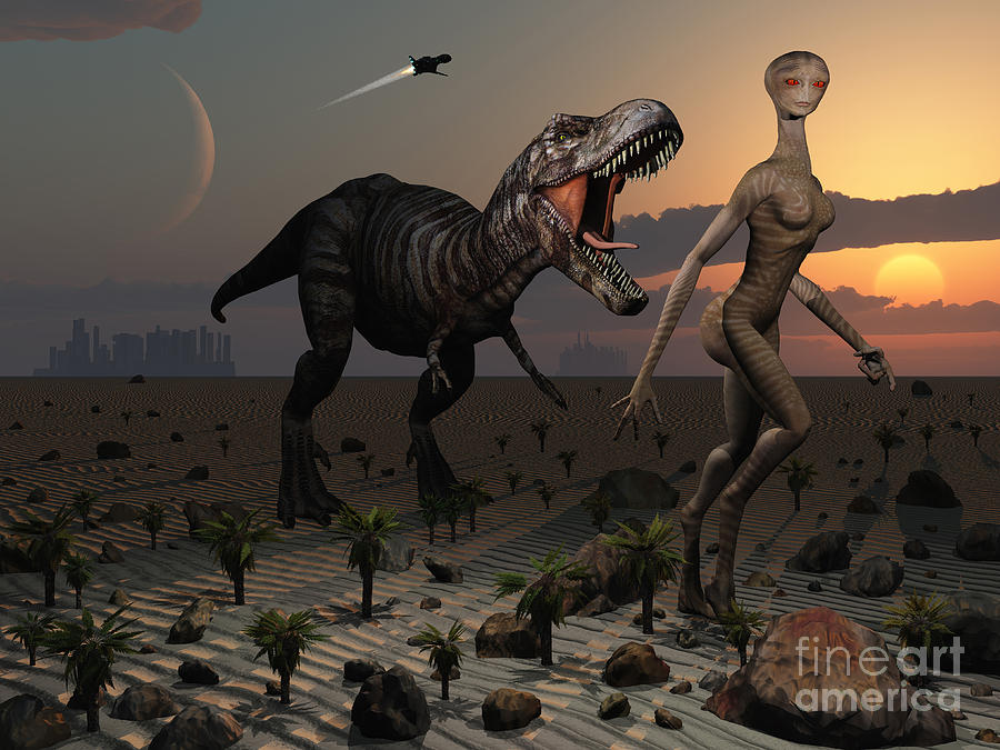 Concept Digital Art - Reptoids Tame Dinosaurs Using Telepathy by Mark Stevenson