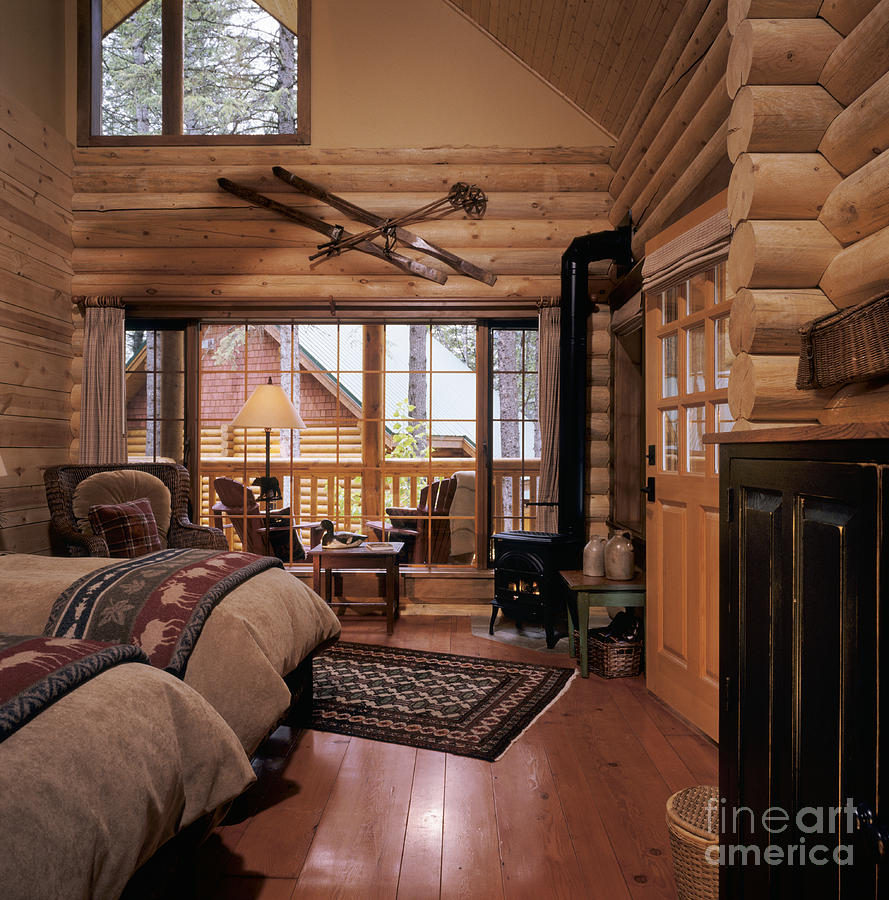 resort log cabin interior photograph by robert pisano
