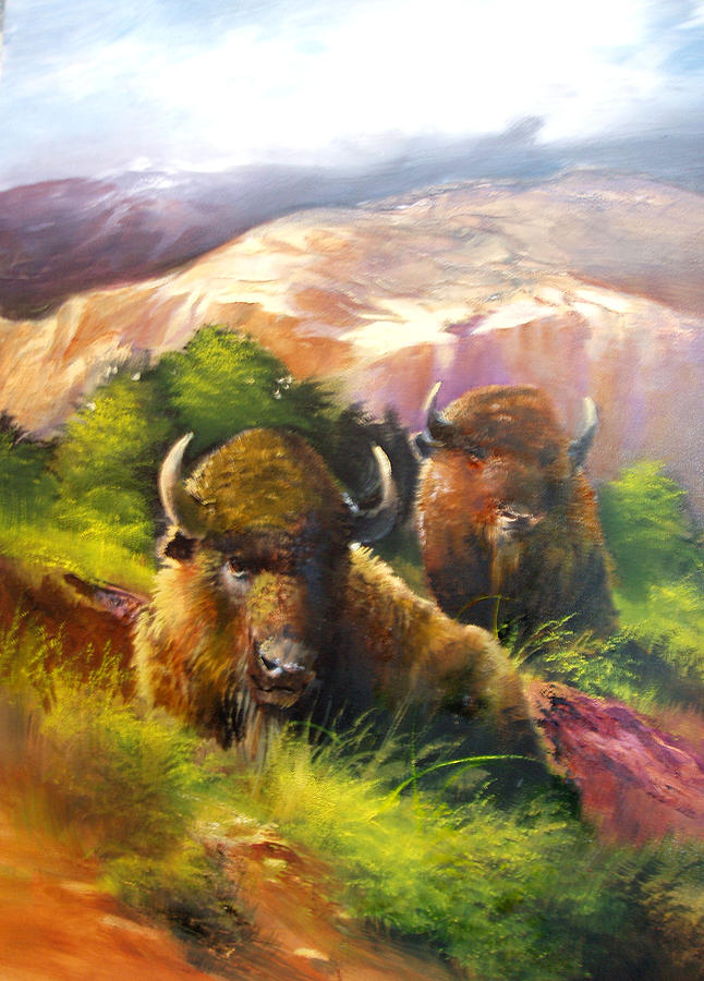 Bison Painting - Rest by Robert Carver