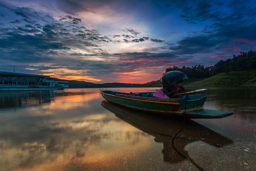 Rest Photograph - Rest Time Wood Boat by Arthit Somsakul