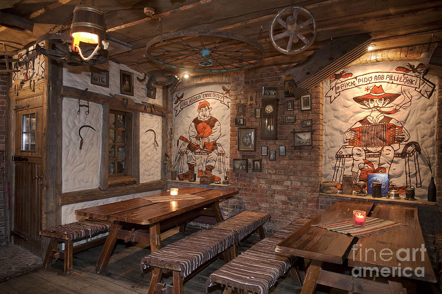 Restaurant Benches With A Rustic Decor Photograph By Jaak