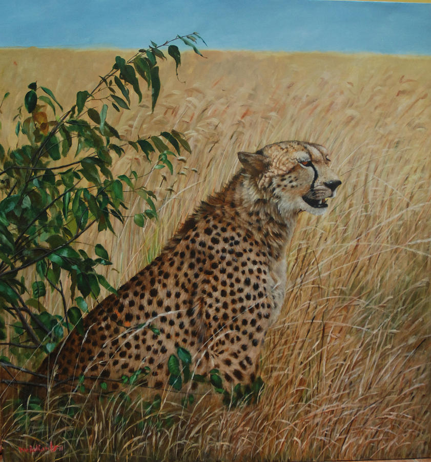 Big Cat Painting - Resting Area by Harry Nurdianto