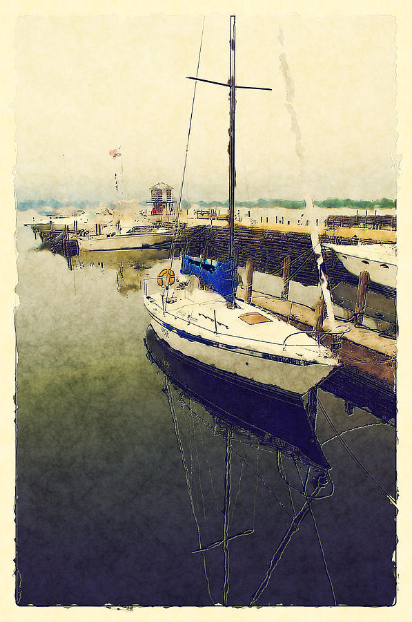 Sailboat Digital Art - Resting In The Harbor by Dennis Wright aka The Mellow One