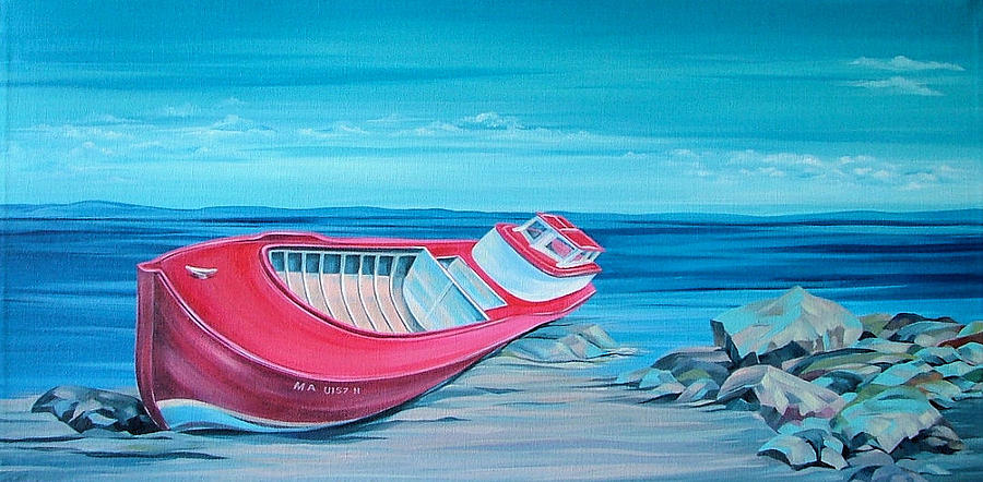 Red Boat Painting - Resting by Natasha Denger