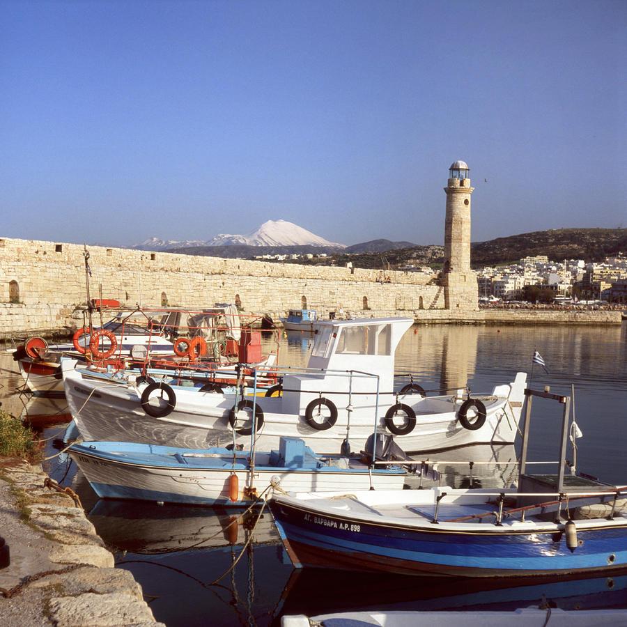 Harbour Photograph - Rethymnon Harbour And Psiloritis by Paul Cowan