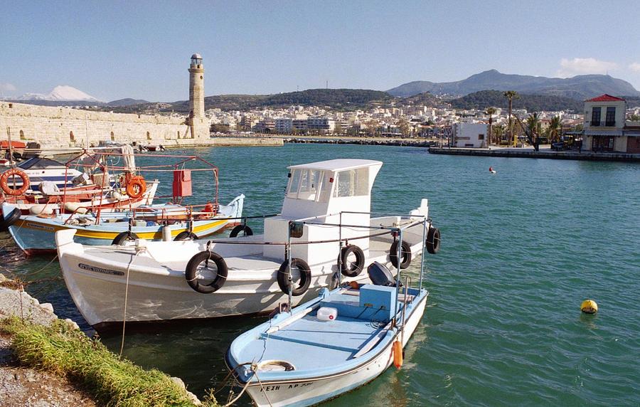 Crete Photograph - Rethymnon Harbour In Crete  by Paul Cowan