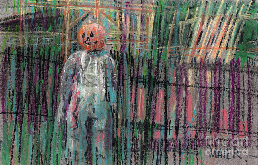 Scarecrow Painting - Return Of Pumpkinhead Man by Donald Maier