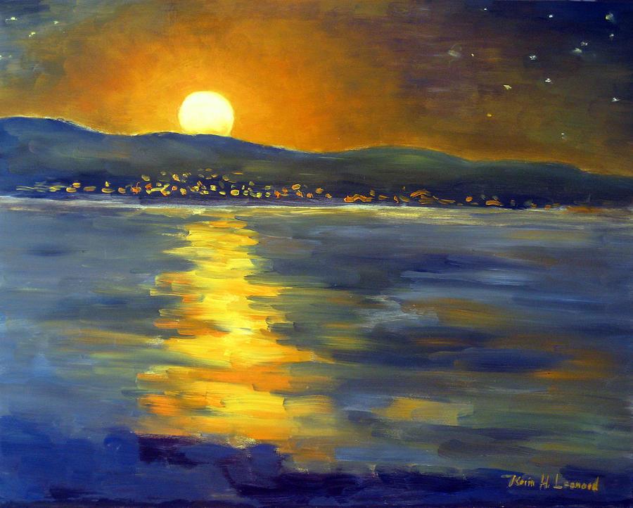 Full Moon Painting - Return Of The Light by Karin  Leonard