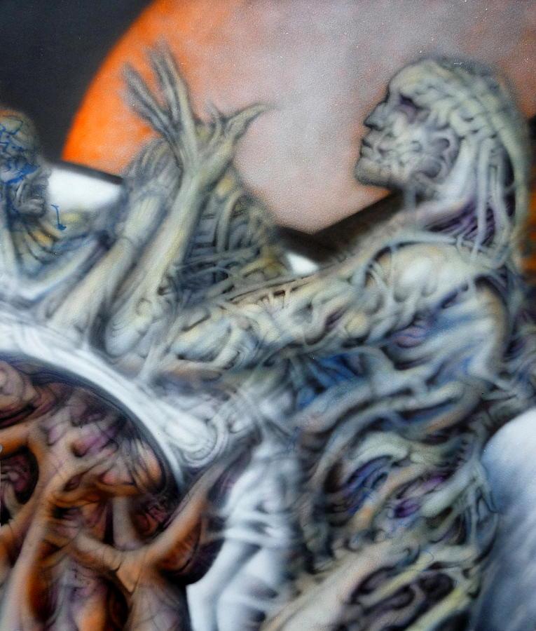 Dark Biomech Biomechanical Surreal Surrealism Abstract Deep Evil Odd Strange Airbrush Hell Pain Bizarre Revoke Painting - Revoke by David Frantz