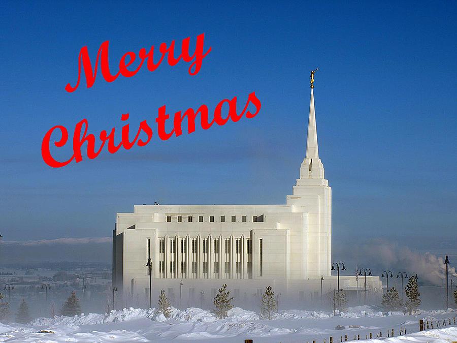Christmas Cards Photograph - Rexburg Temple Christmas by DeeLon Merritt