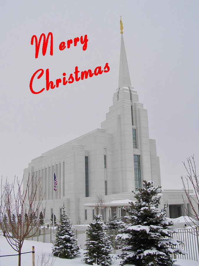 Christmas Cards Photograph - Rexburg Temple In Snow For Chritmas by DeeLon Merritt