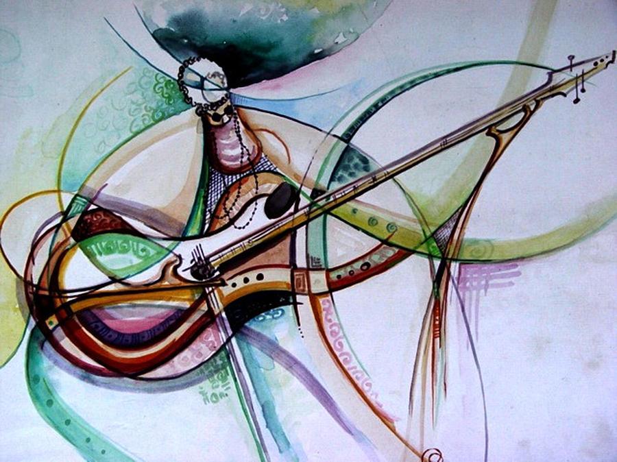 Contemporary Painting - Rhythm Of The Strings by Oyoroko Ken ochuko