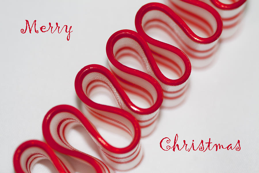 Ribbon Photograph - Ribbon Candy Peppermint Merry Christmas by Kathy Clark