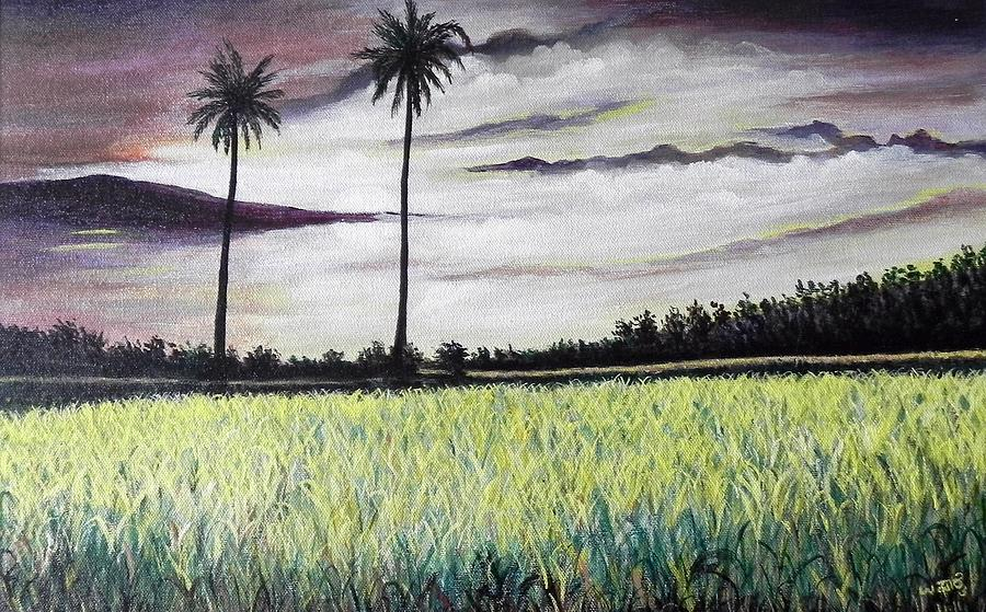 Landscape Painting - Rice Field  by Usha Rai
